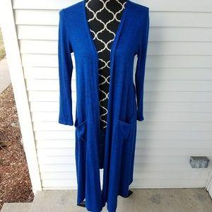 GUC Heathered Royal Blue LuLaRoe Sarah Cardigan S